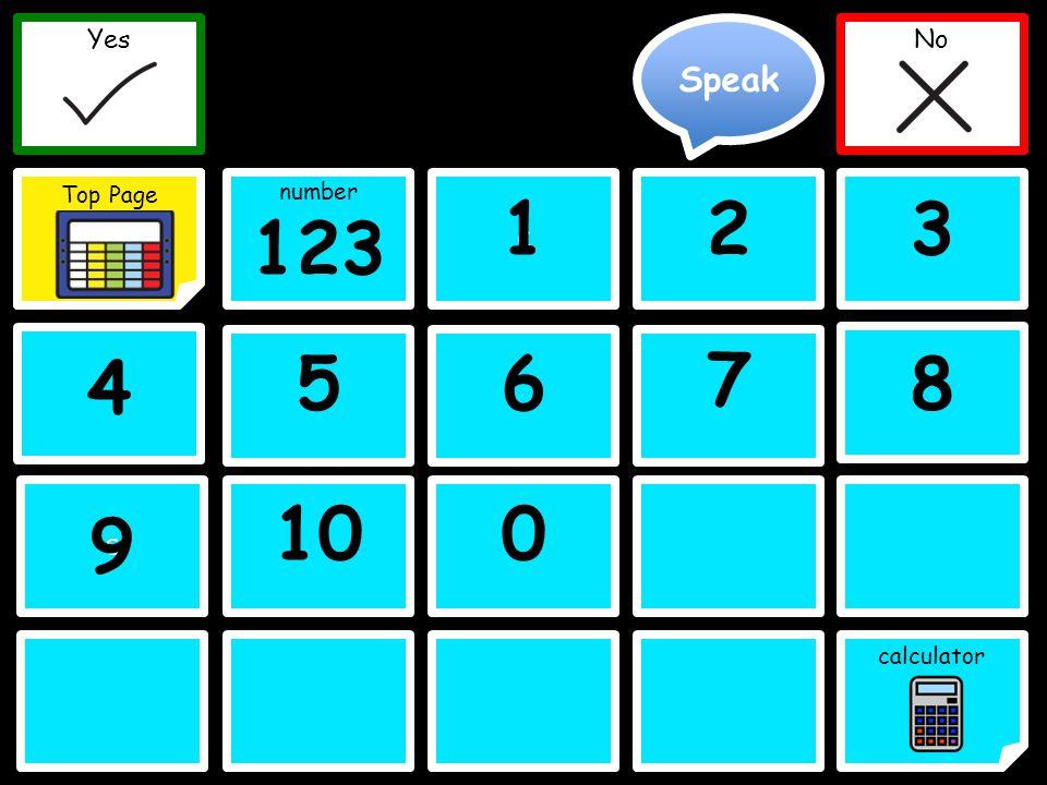 Speak Yes Top Page No C C Yes Top Page No 123 123 4 56 A-M 7 8 100 number calculator C C 9 Clear