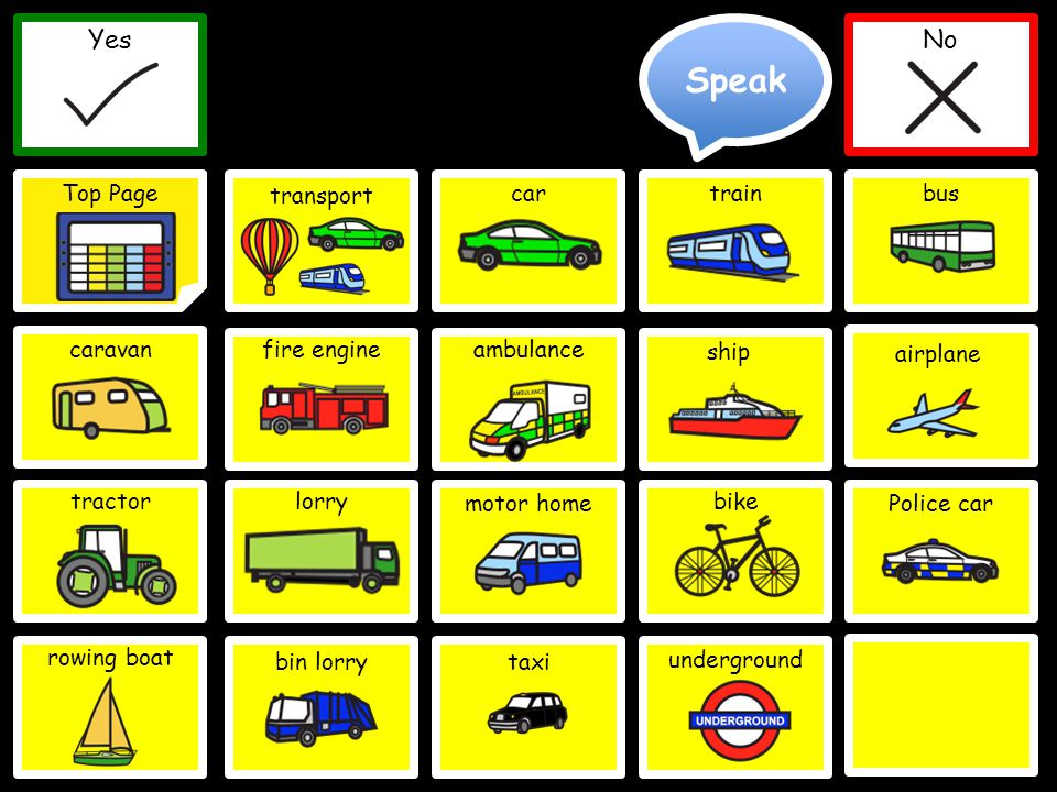 Speak Yes Top Page No Yes No Police car cartrainbus caravanfire engineambulance tractor ship lorrybike motor home Delete Word Clear Top Page bin lorry rowing boat taxi transport underground airplane