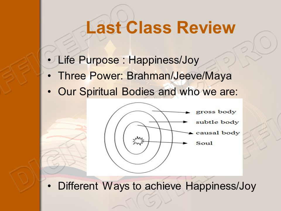 Last Class Review Life Purpose : Happiness/Joy Three Power: Brahman/Jeeve/Maya Our Spiritual Bodies and who we are: Different Ways to achieve Happiness/Joy