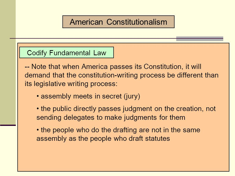 Codify Fundamental Law -- Write down all those fundamental things that are the highest form of law -- Write down the sacred traditions.