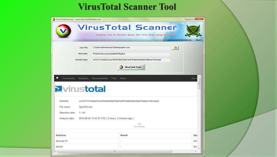VirusTotal Scanner Tool www.SecurityXploded.com