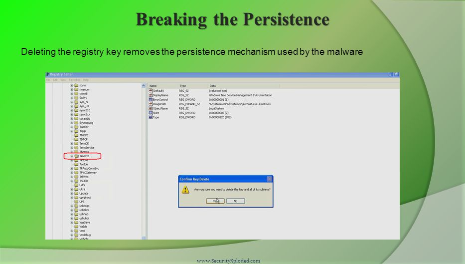 Breaking the Persistence www.SecurityXploded.com Deleting the registry key removes the persistence mechanism used by the malware