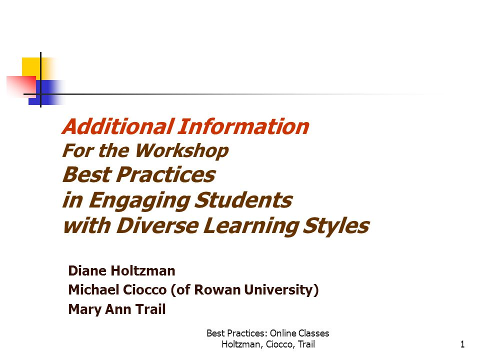 Best Practices: Online Classes Holtzman, Ciocco, Trail1 Additional Information For the Workshop Best Practices in Engaging Students with Diverse Learning Styles Diane Holtzman Michael Ciocco (of Rowan University) Mary Ann Trail
