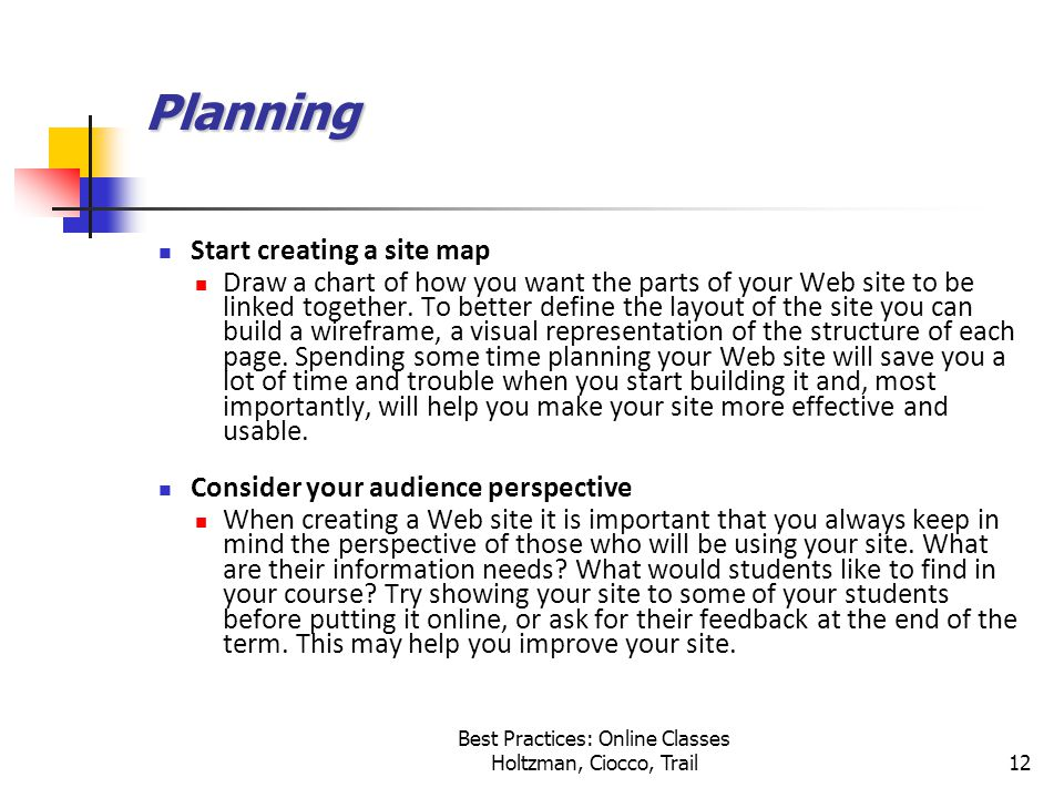 Best Practices: Online Classes Holtzman, Ciocco, Trail12 Planning Start creating a site map Draw a chart of how you want the parts of your Web site to be linked together.