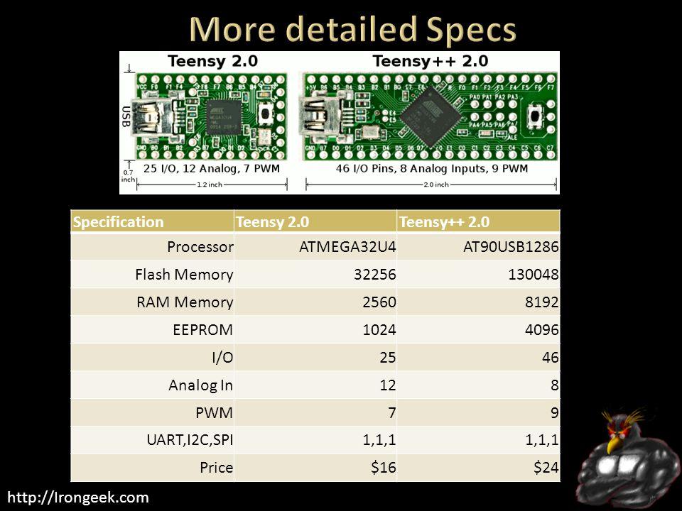 http://Irongeek.com SpecificationTeensy 2.0Teensy++ 2.0 ProcessorATMEGA32U4AT90USB1286 Flash Memory32256130048 RAM Memory25608192 EEPROM10244096 I/O2546 Analog In128 PWM79 UART,I2C,SPI1,1,1 Price$16$24