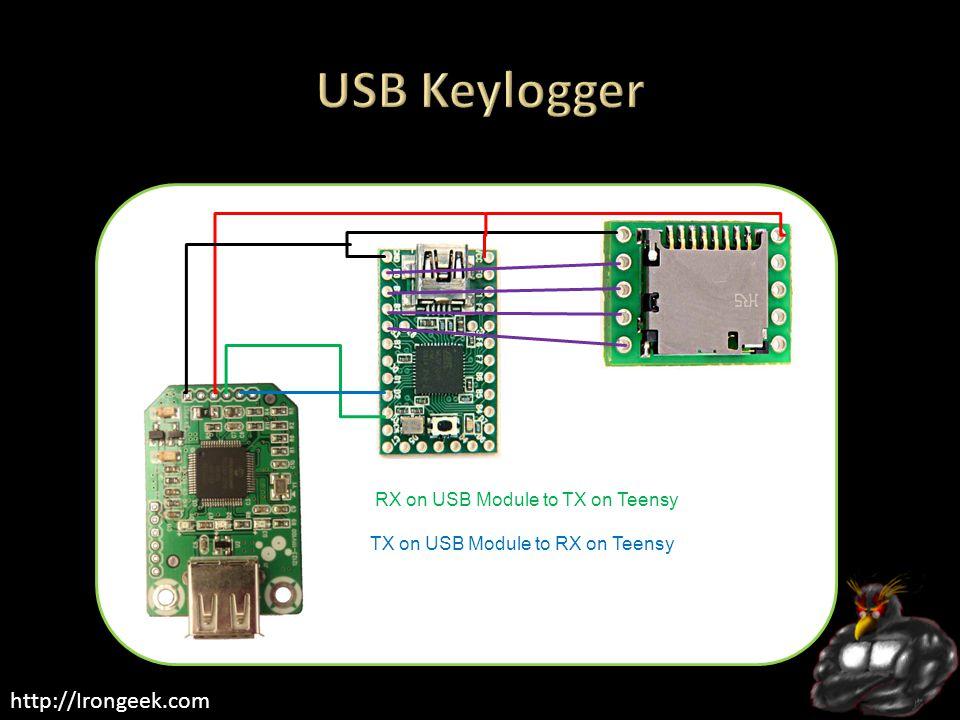 http://Irongeek.com RX on USB Module to TX on Teensy TX on USB Module to RX on Teensy