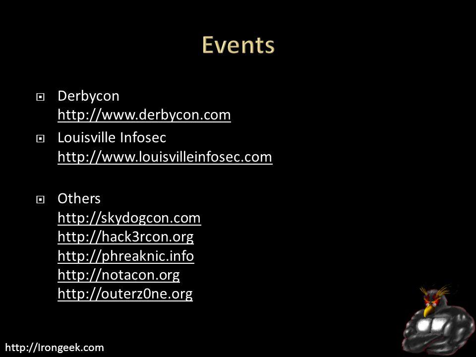 http://Irongeek.com  Derbycon http://www.derbycon.com http://www.derbycon.com  Louisville Infosec http://www.louisvilleinfosec.com http://www.louisvilleinfosec.com  Others http://skydogcon.com http://hack3rcon.org http://phreaknic.info http://notacon.org http://outerz0ne.org http://skydogcon.com http://hack3rcon.org http://phreaknic.info http://notacon.org http://outerz0ne.org