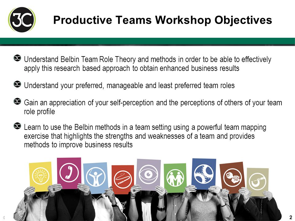 2 © 2013 3Circle Partners LLC Productive Teams Workshop Objectives Understand your preferred, manageable and least preferred team roles Gain an apprec