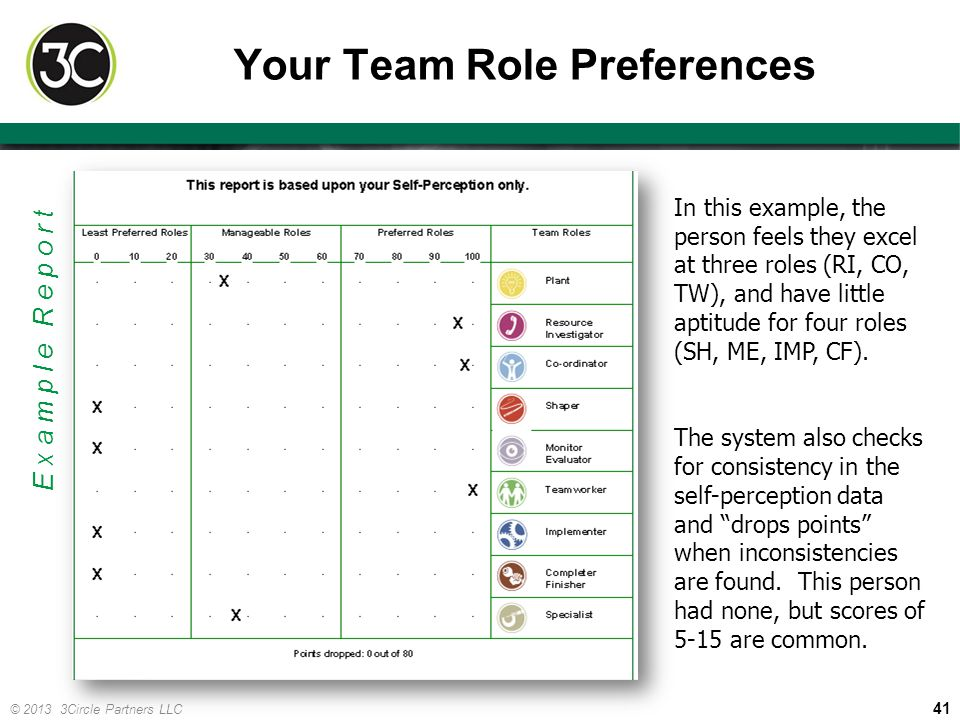 41 © 2013 3Circle Partners LLC Your Team Role Preferences In this example, the person feels they excel at three roles (RI, CO, TW), and have little ap