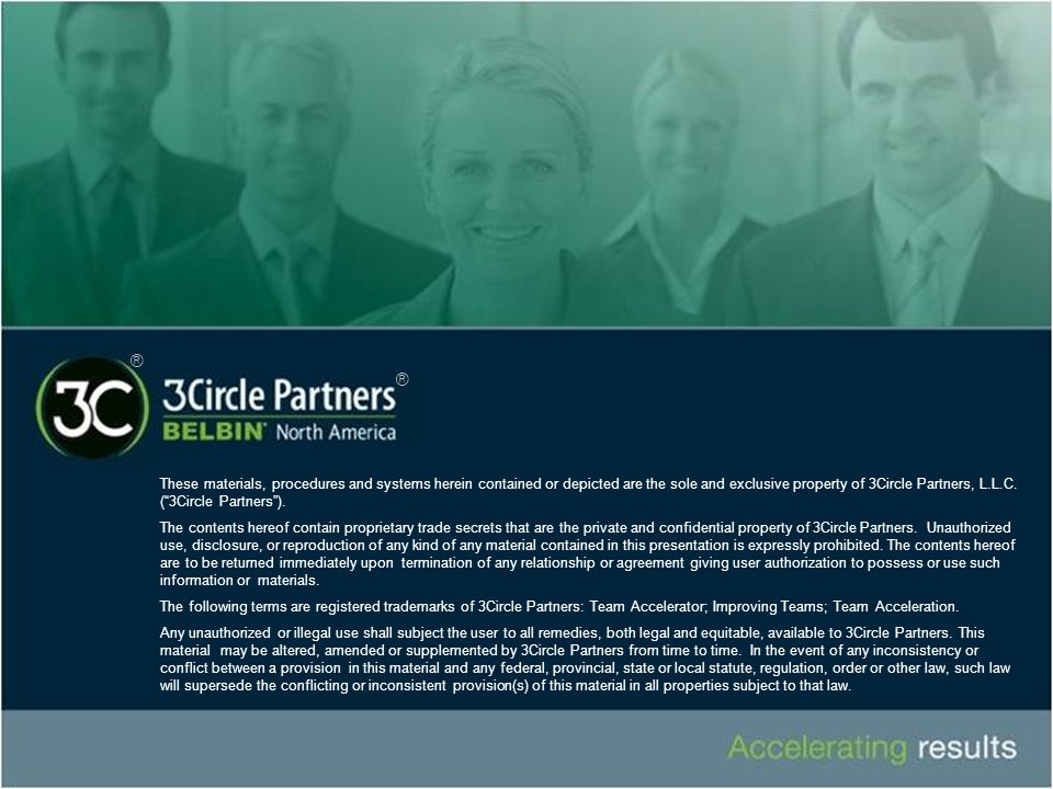 "These materials, procedures and systems herein contained or depicted are the sole and exclusive property of 3Circle Partners, L.L.C. (""3Circle Partner"