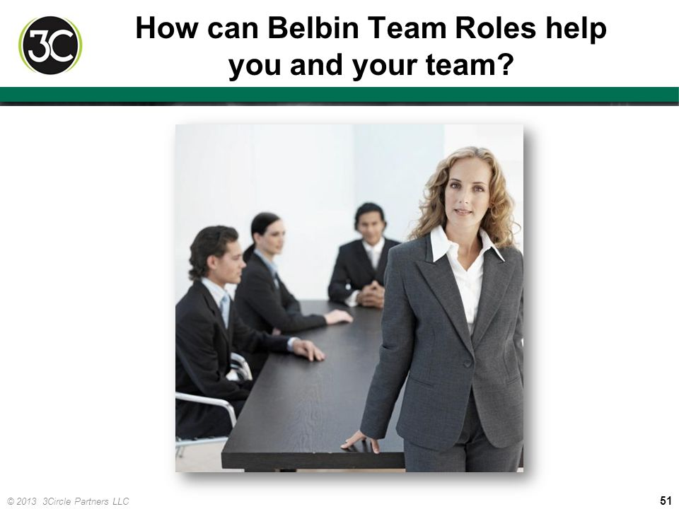 51 © 2013 3Circle Partners LLC How can Belbin Team Roles help you and your team?