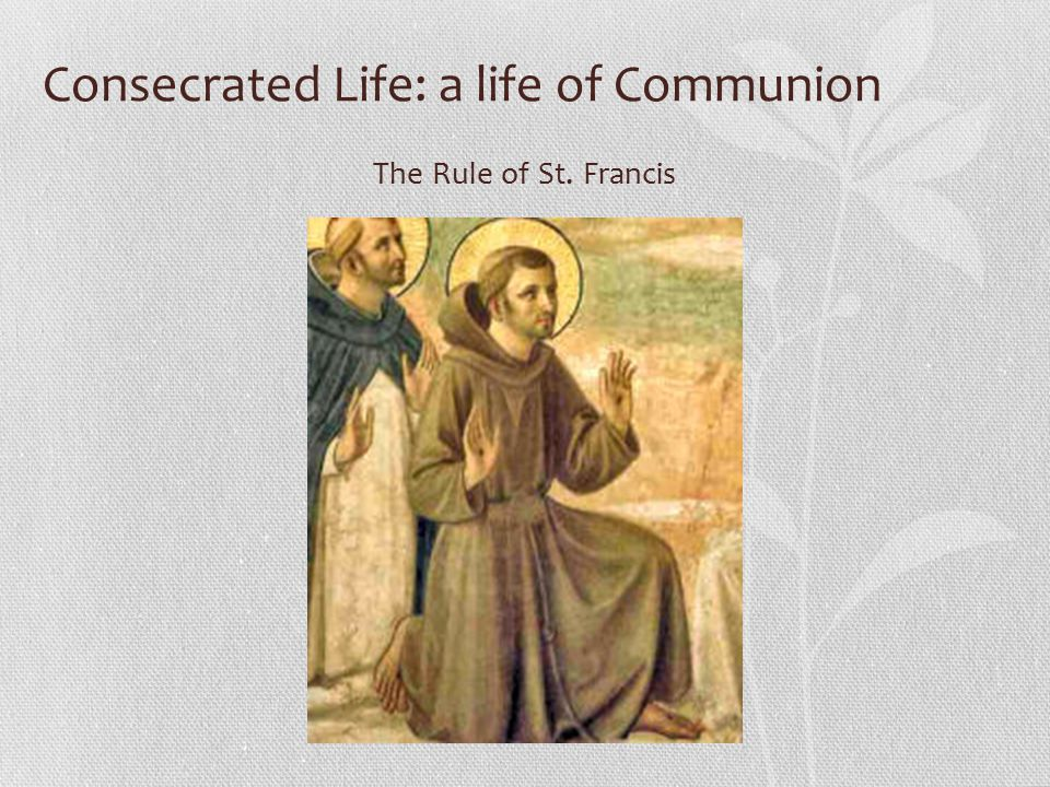 Consecrated Life: a life of Communion The Rule of St. Francis
