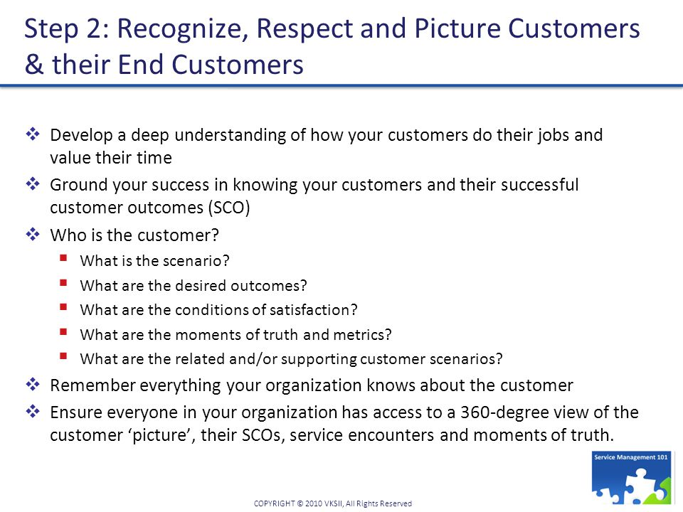 COPYRIGHT © 2010 VKSII, All Rights Reserved Step 2: Recognize, Respect and Picture Customers & their End Customers  Develop a deep understanding of how your customers do their jobs and value their time  Ground your success in knowing your customers and their successful customer outcomes (SCO)  Who is the customer.