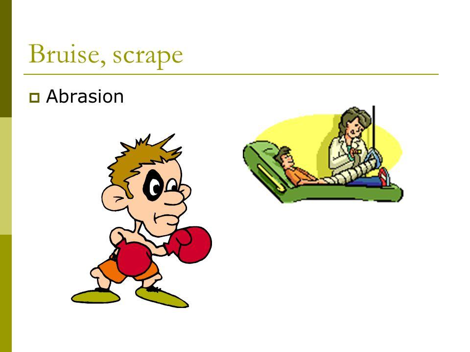 Bruise, scrape  Abrasion