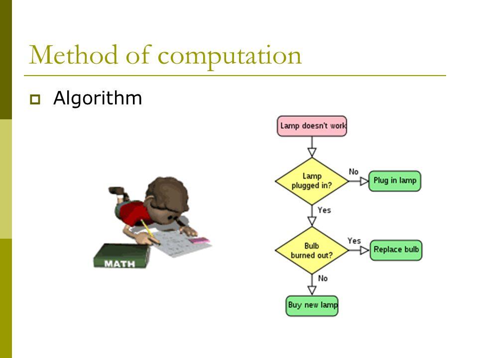 Method of computation  Algorithm
