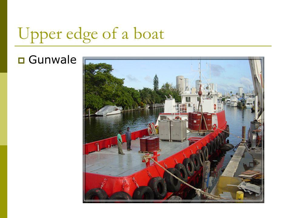 Upper edge of a boat  Gunwale
