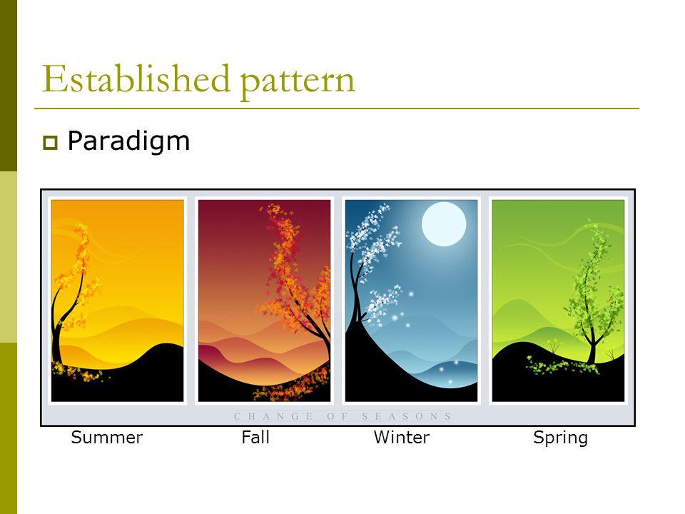 Established pattern  Paradigm Summer Fall Winter Spring
