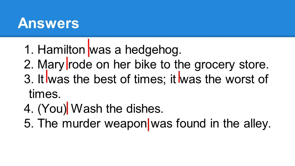 Answers 1. Hamilton was a hedgehog. 2. Mary rode on her bike to the grocery store.