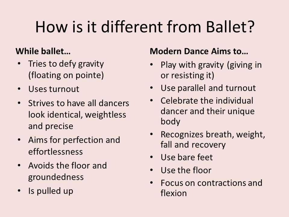 How is it different from Ballet? While ballet… Tries to defy gravity (floating on pointe) Uses turnout Strives to have all dancers look identical, wei
