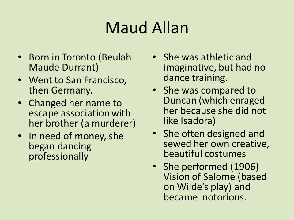 Born in Toronto (Beulah Maude Durrant) Went to San Francisco, then Germany. Changed her name to escape association with her brother (a murderer) In ne