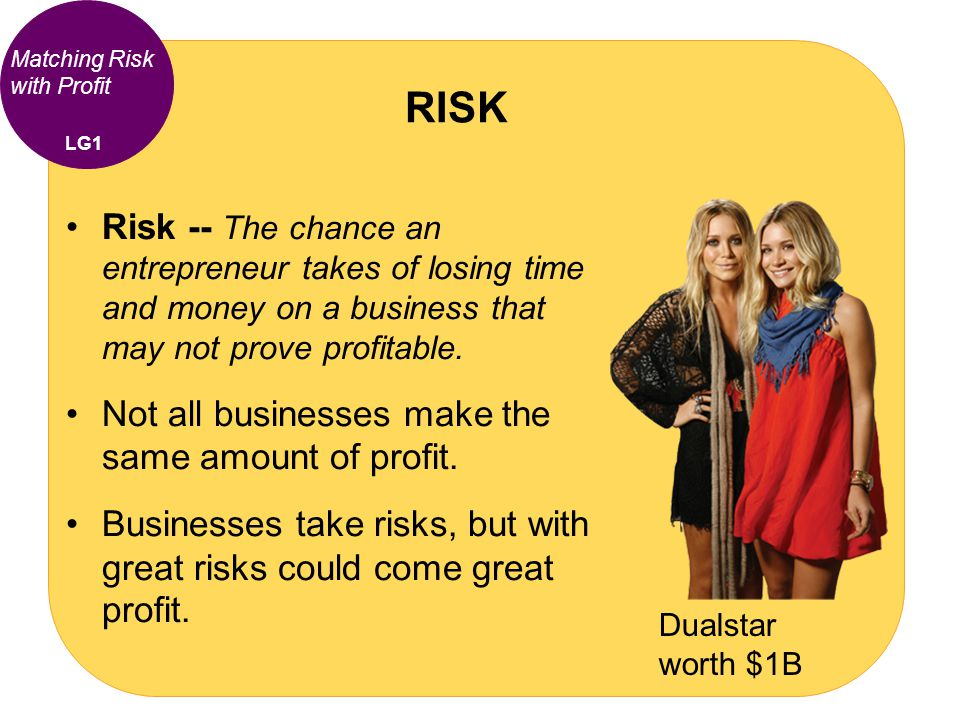 Matching Risk with Profit Risk -- The chance an entrepreneur takes of losing time and money on a business that may not prove profitable. Not all busin