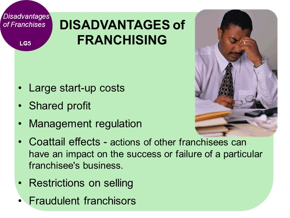 Large start-up costs Shared profit Management regulation Coattail effects - actions of other franchisees can have an impact on the success or failure