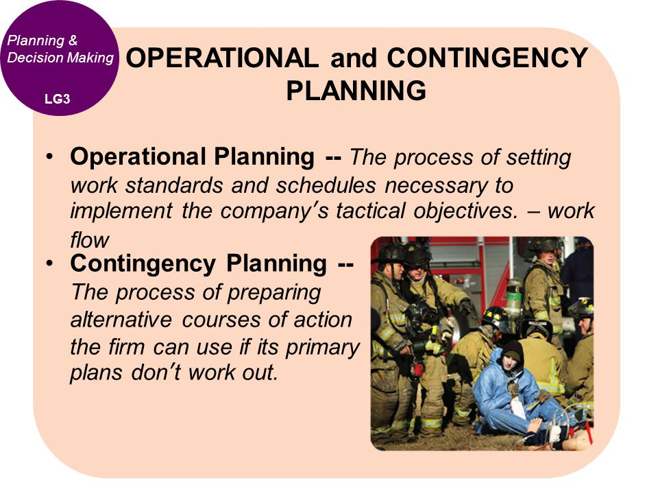 Operational Planning -- The process of setting work standards and schedules necessary to implement the company's tactical objectives. – work flow OPER