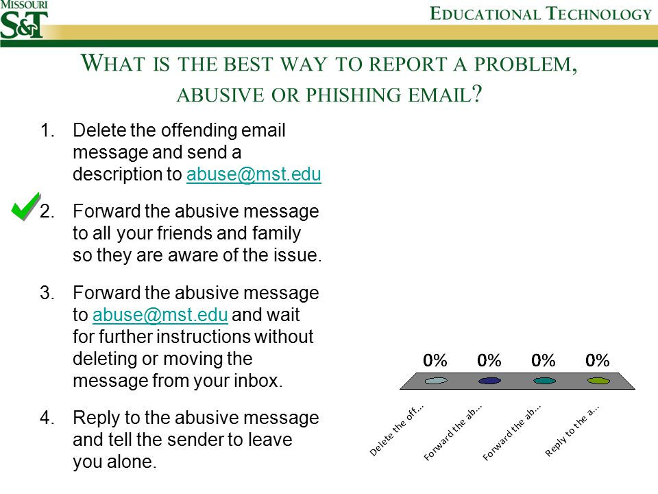 W HAT IS THE BEST WAY TO REPORT A PROBLEM, ABUSIVE OR PHISHING EMAIL .