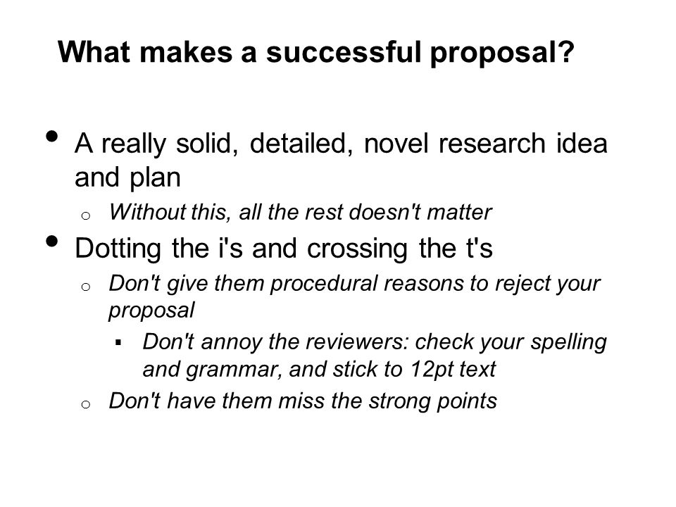 What makes a successful proposal.