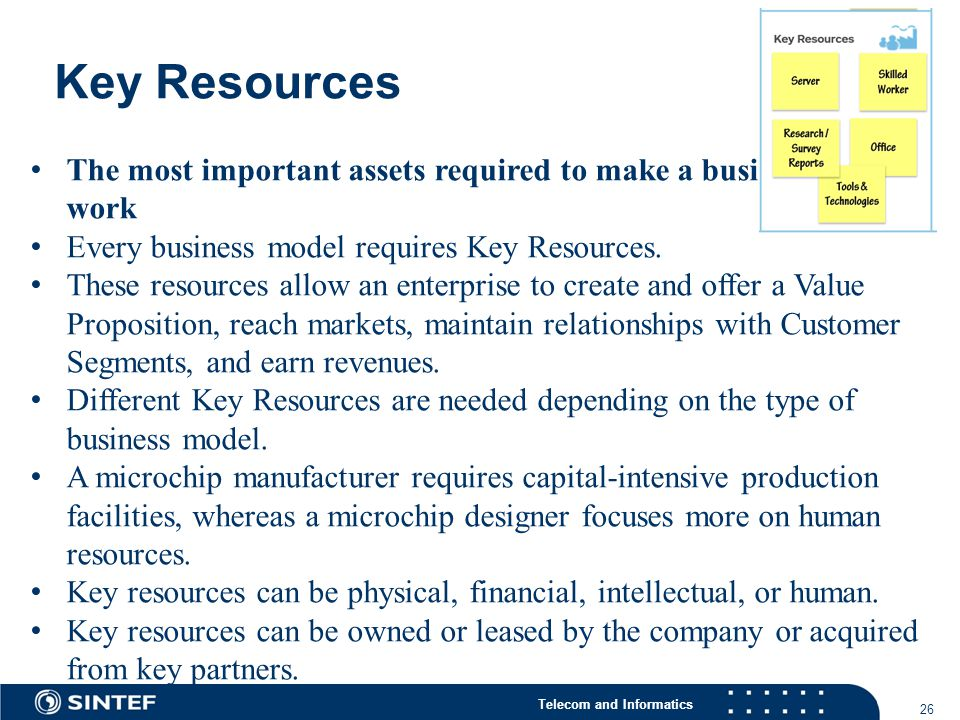 Telecom and Informatics Key Resources 26 The most important assets required to make a business model work Every business model requires Key Resources.