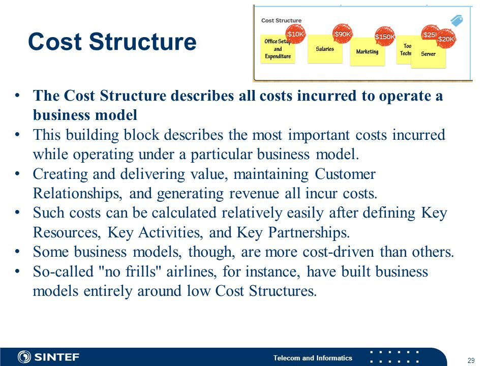 Telecom and Informatics Cost Structure 29 The Cost Structure describes all costs incurred to operate a business model This building block describes the most important costs incurred while operating under a particular business model.