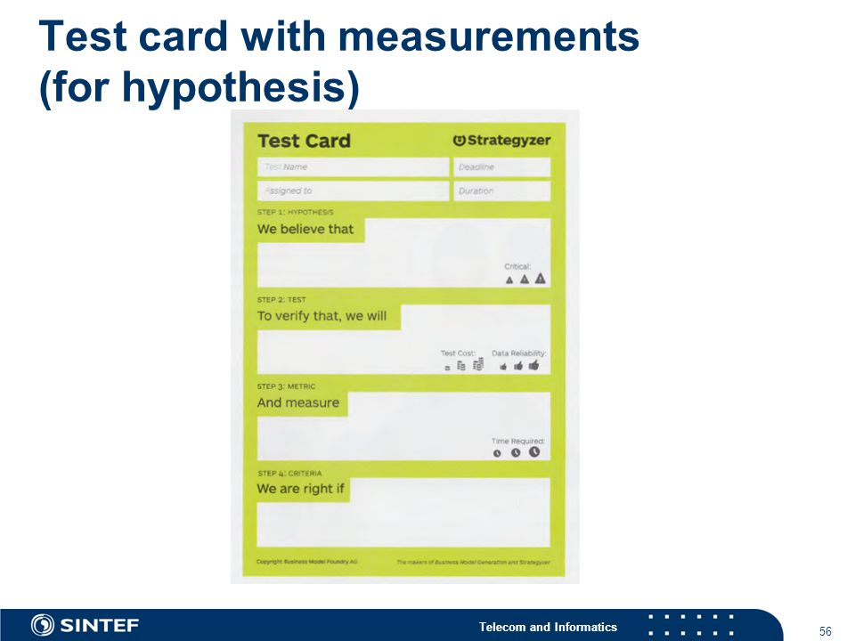 Telecom and Informatics Test card with measurements (for hypothesis) 56
