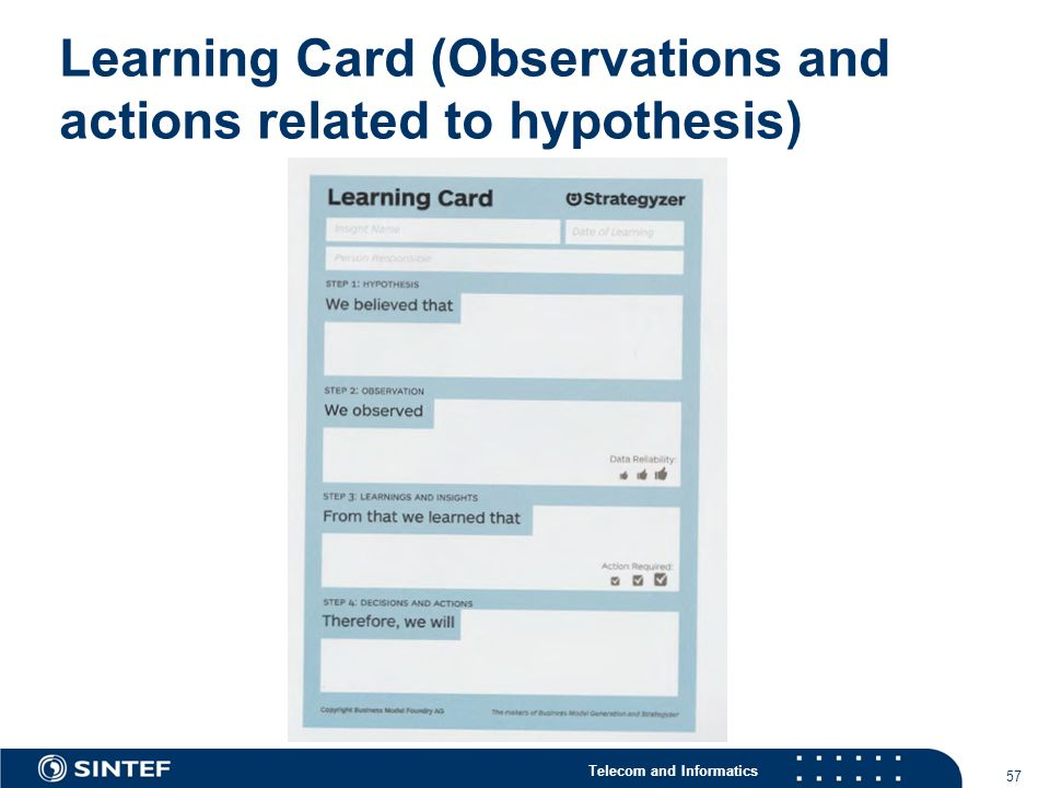 Telecom and Informatics Learning Card (Observations and actions related to hypothesis) 57