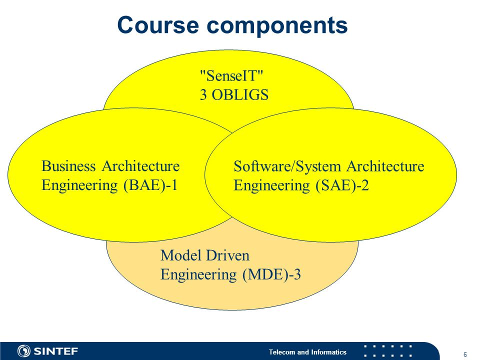 Telecom and Informatics Course components 6 Model Driven Engineering (MDE)-3 Business Architecture Engineering (BAE)-1 Software/System Architecture Engineering (SAE)-2 SenseIT 3 OBLIGS