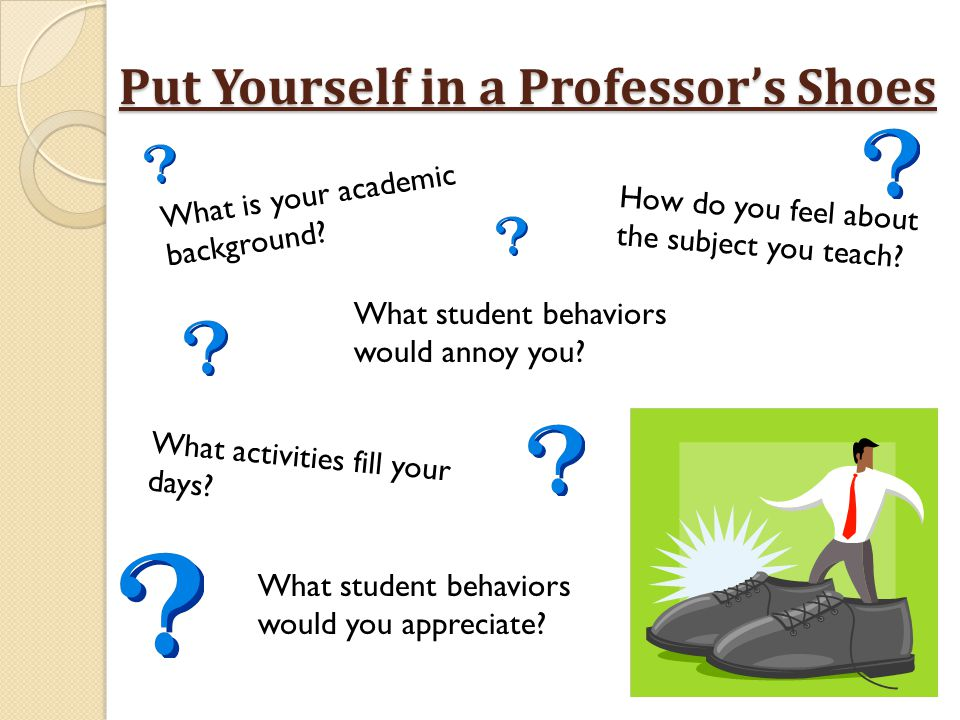 Put Yourself in a Professor's Shoes What is your academic background? What activities fill your days? How do you feel about the subject you teach? Wha