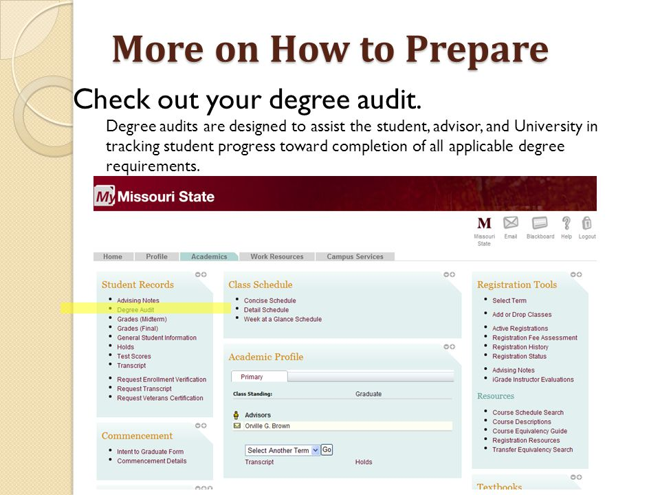 More on How to Prepare Check out your degree audit.