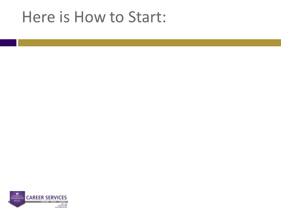 Here is How to Start: