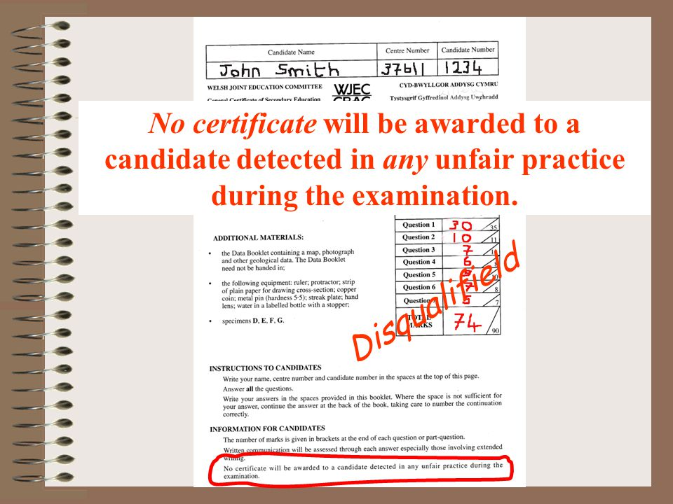 Disqualifield No certificate will be awarded to a candidate detected in any unfair practice during the examination.