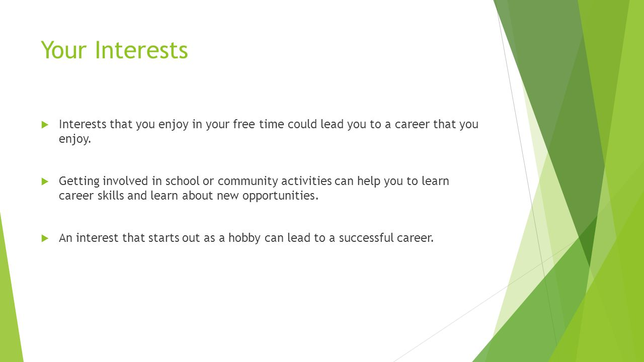Your Interests  Interests that you enjoy in your free time could lead you to a career that you enjoy.