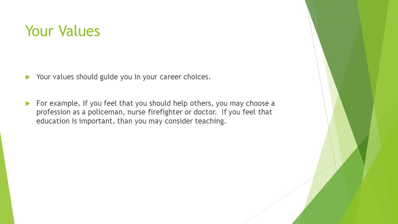 Your Values  Your values should guide you in your career choices.