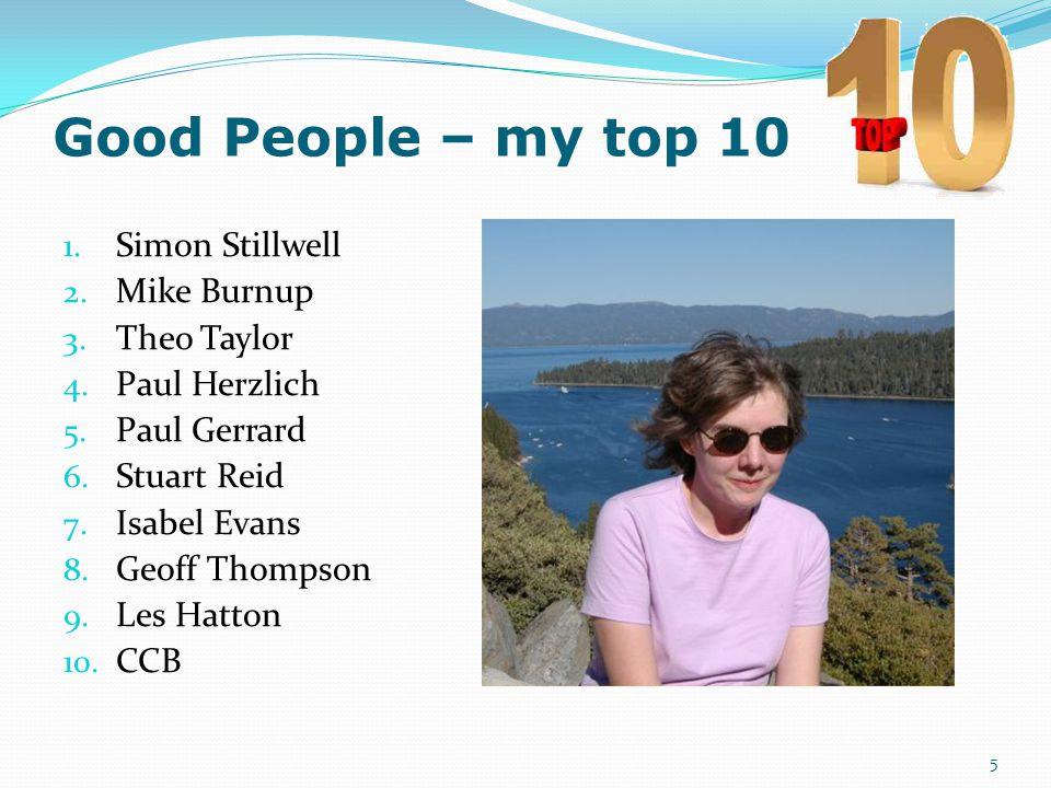 Good People – my top 10 1. Simon Stillwell- Senior Programmer 2. Mike Burnup- Senior Consultant 3. Theo Taylor- Boss (Testing Guru) 4. Paul Herzlich –
