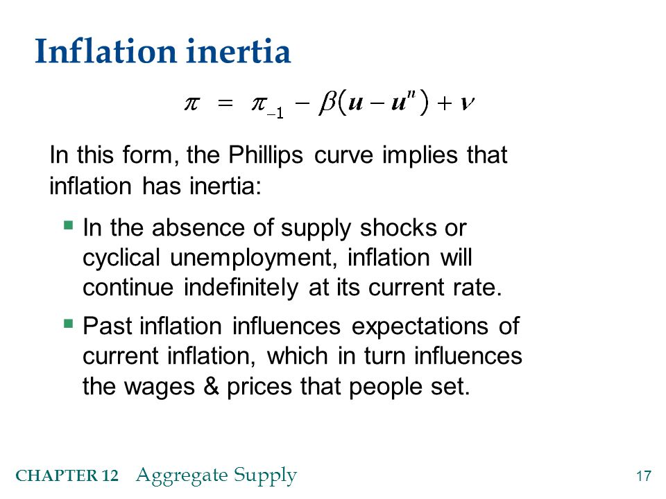 17 CHAPTER 12 Aggregate Supply Inflation inertia In this form, the Phillips curve implies that inflation has inertia:  In the absence of supply shock