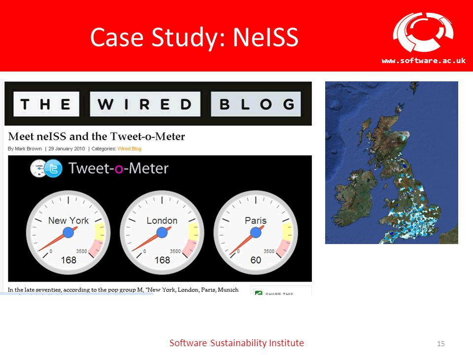 Software Sustainability Institute www.software.ac.uk Case Study: NeISS 15