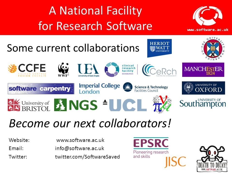 Software Sustainability Institute www.software.ac.uk SSI Training Training on development practices for research teams  Particularly targeting early-career researchers (e.g.