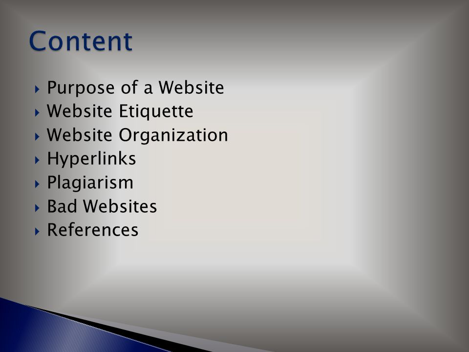  Purpose of a Website  Website Etiquette  Website Organization  Hyperlinks  Plagiarism  Bad Websites  References