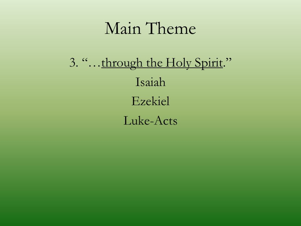 "Main Theme 3. ""…through the Holy Spirit."" Isaiah Ezekiel Luke-Acts"