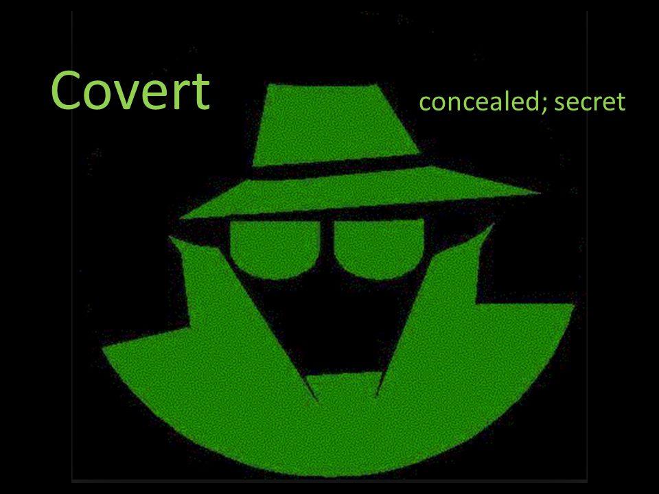 Covert concealed; secret