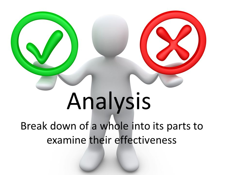 Analysis Break down of a whole into its parts to examine their effectiveness