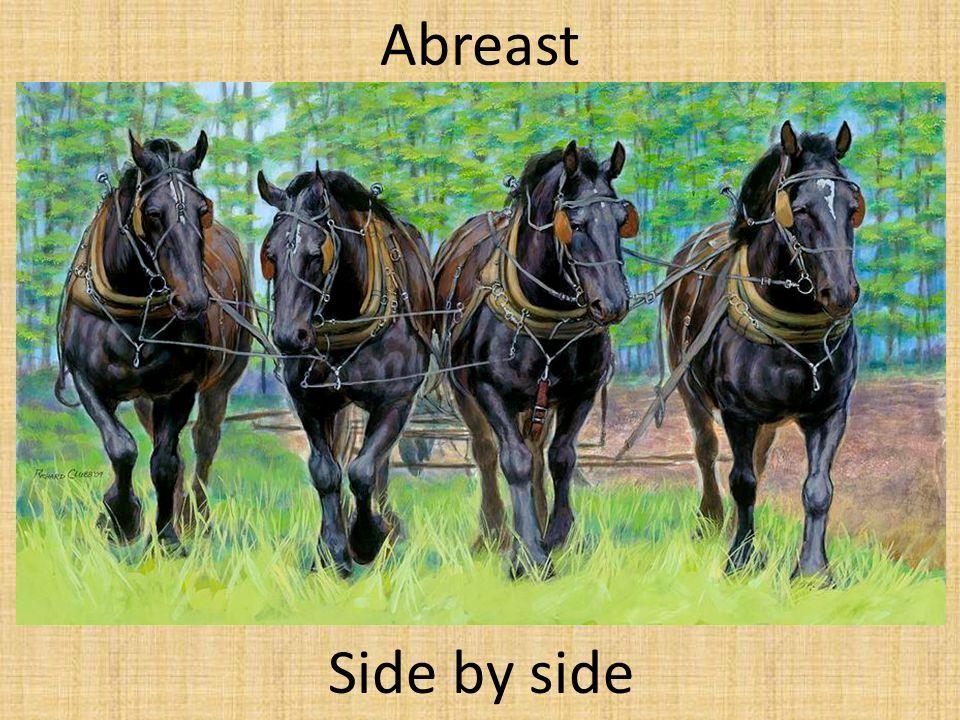 Abreast Side by side
