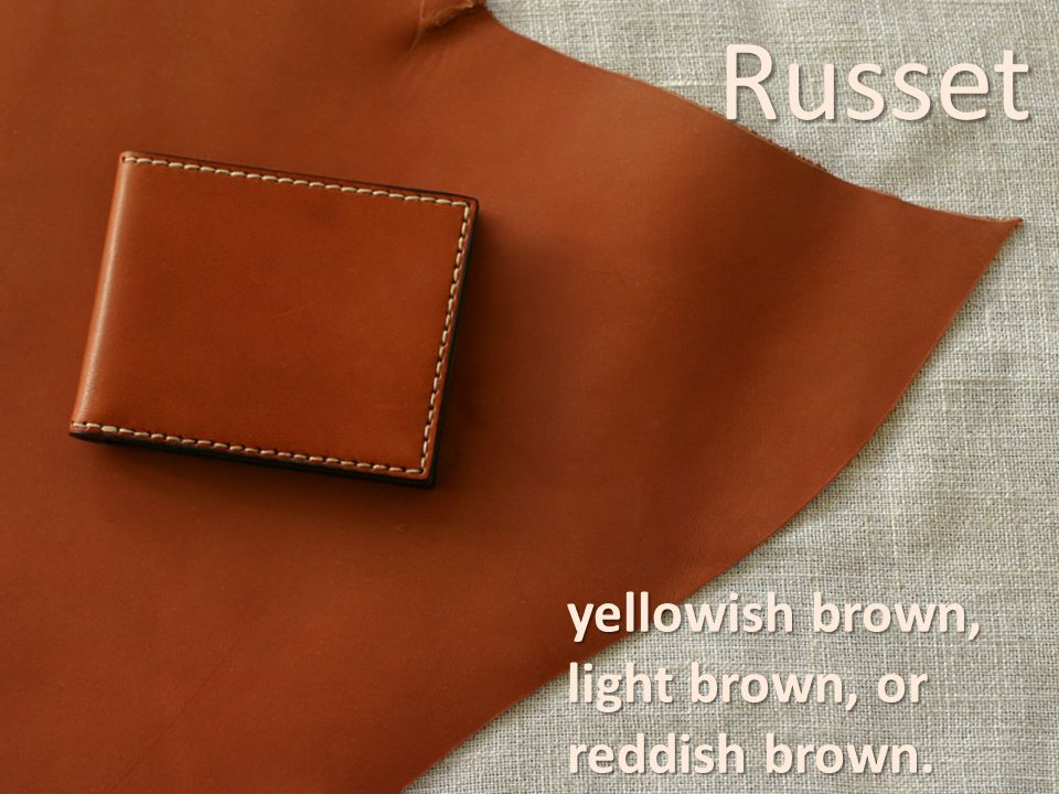 Russet yellowish brown, light brown, or reddish brown.